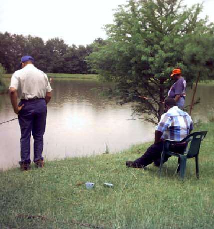 group of men doing fishing